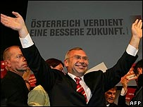 Alfred Gusenbauer celebrates victory for the Social Democrats