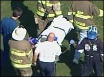 Victim on stretcher and emergency workers