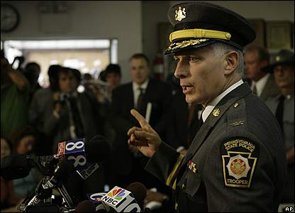 Pennsylvania State Police Commissioner Jeffrey Miller gives a news conference