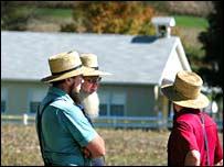 Amish men near the school in Pennsylvania
