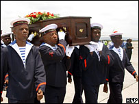 Congolese navy soldiers carry the coffin containing de Brazza's remains