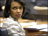 La secretaria de Estado de EE.UU., Condoleezza Rice