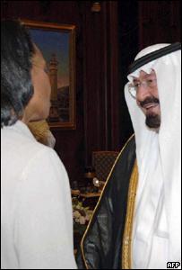 La secretaria de Estado de EE.UU., Condoleezza Rice, con el rey saudita Abdullah bin Abdul Aziz