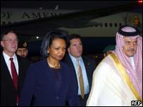 La secretaria de Estado de EE.UU., Condoleezza Rice, en Arabia Saudita