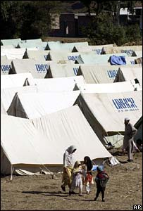 UN relief tents after the quake in Pakistan-administered Kashmir