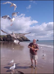 Mags from Manchester sent in this shot of boyfriend Paul on holiday in Tenby