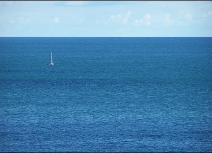 A solo yacht viewed from north beach in Tenby (Shaun Kimsey)