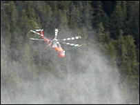 Helicopter logging.  Image: BBC