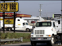 A truck by a petrol station in the US state of Ohio