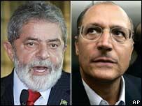 Brazil's presidential candidates Luiz Inacio Lula da Silva (L) and Geraldo Alckmin (R)