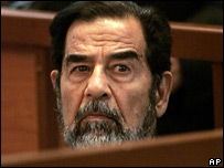 Saddam Hussein in the dock on 25 September 2006 at his genocide trial