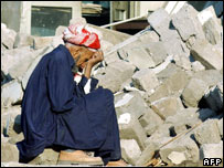 A man after the quake in Muzzafarabad