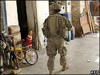 A US soldier on patrol in Baghdad. File photo
