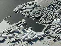 A model of new developments on Plymouth's waterfront