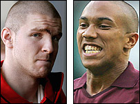 Arsenal defenders Philippe Senderos (left) and Gael Clichy