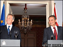 Tony Blair and Jose Luis Rodriguez Zapatero at a press conference at Palacio de la Quinta in Madrid, Spain
