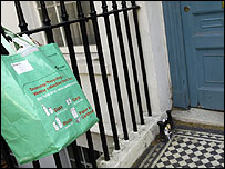 Recycling bag on doorstep