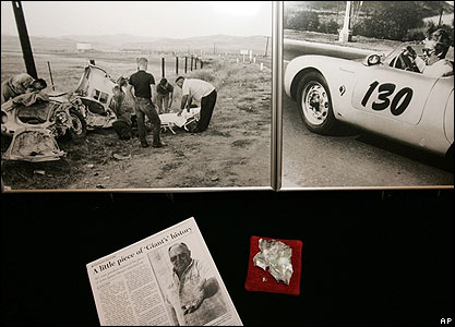 Fragment of James Deans' car a photos of the crash