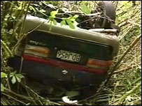Marion and Glenys Hounsome's crashed car