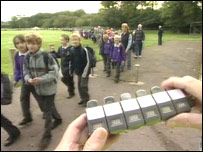 "Children taking part in the ""walking bus"""