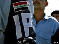 Iraqi police graduates parade during their graduation ceremony (file image)