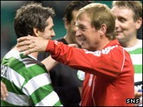 Celtic's Joe Miller and Liverpool's Kenny Dalglish