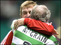 Celtic's Danny McGrain and Liverpool's Kenny Dalglish embrace