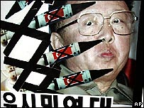Placard attacking North Korean leader Kim Jong-il at a rally in South Korea