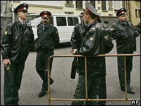 Russian police officers patrol in front of the Georgian embassy in Moscow