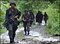 Philippine marines in Patikul, Jolo, on 14 September 2006