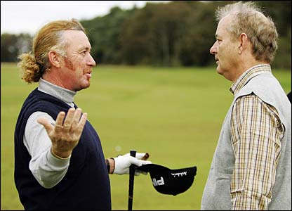 Miguel Angel Jimenez offers some advice to his Bill Murray
