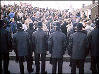 Police at the miners' strike