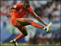 The Ivory Coast's Bonaventure Kalou in action