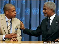Jay-Z with Kofi Annan before his world tour