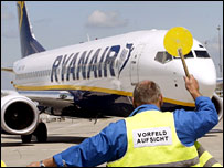 Ryanair plane on a runway