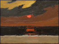 Sunset over Anglesey - Sir Kyffin Williams' last painting