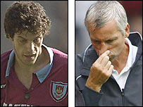 Former West Ham defender Slaven Bilic (left) and current Hammers boss Alan Pardew