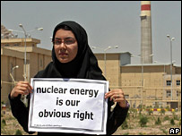 Iranian student outside Isfahan uranium enrichment plant in Iran.