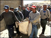 Miners in Huanuni mine in Bolivia carry body in sheet