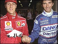 Michael Schumacher and Damon Hill in 1997