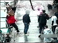 CCTV footage of a gang in Dennistoun from Strathclyde Police