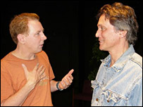 David Willis (l) with coach and actor Scott Colomby