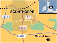 A map showing the crash site