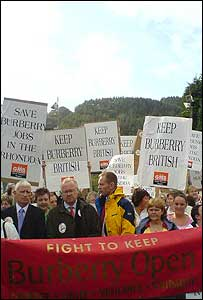 A protest outisde the Burberry factory in Treorchy