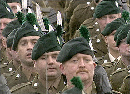 RIR soldiers on parade at Balmoral Showgrounds in Belfast