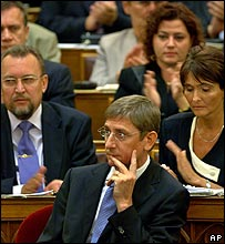 Hungarian Prime Minister Ferenc Gyurcsany in parliament