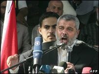 Ismail Haniya at Gaza rally 06-10