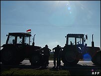 Hungarian farmers protest