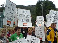 A protest outside the Burberry factory in Treorchy