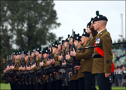 RIR soldiers on parade at Balmoral Showgrounds in Belfast (pic courtesy Will Craig/Army press office)